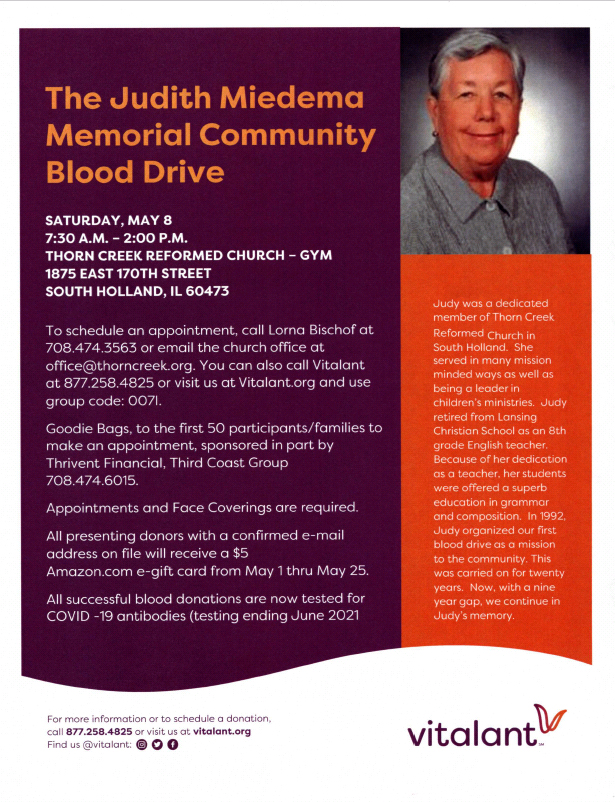 The Judith Miedema Memorial Community Blood Drive